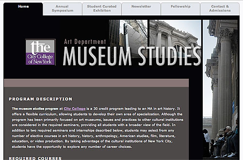 Museum Studies composing websites